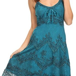 377cd68e60dc Sakkas 4031 Stonewashed Rayon Adjustable Gown – Turquoise Blue – L XL