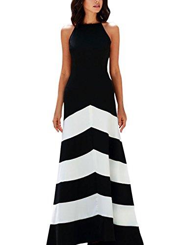 08db98ff1b8 Anni Coco® Women s Elegant Halter Black White Striped Party Evening Maxi  Dresses